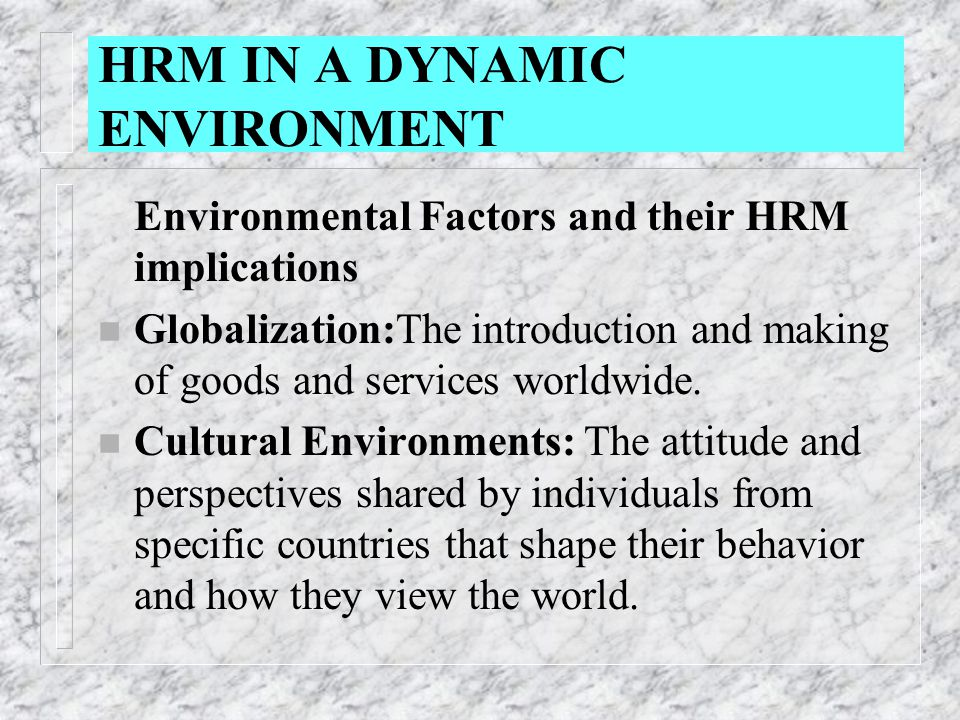 hrm in a dynamic environment Conclusion and review:  a human resource management  today's dynamic environment places some expectations upon the hr professional to meet the changing.