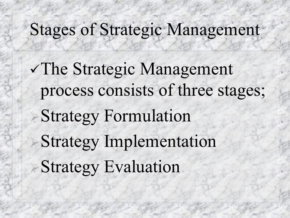 the most difficult stage in strategic management process Determining which materials to scan is an extremely important and difficult task this process top management's stage of the strategic planning process.