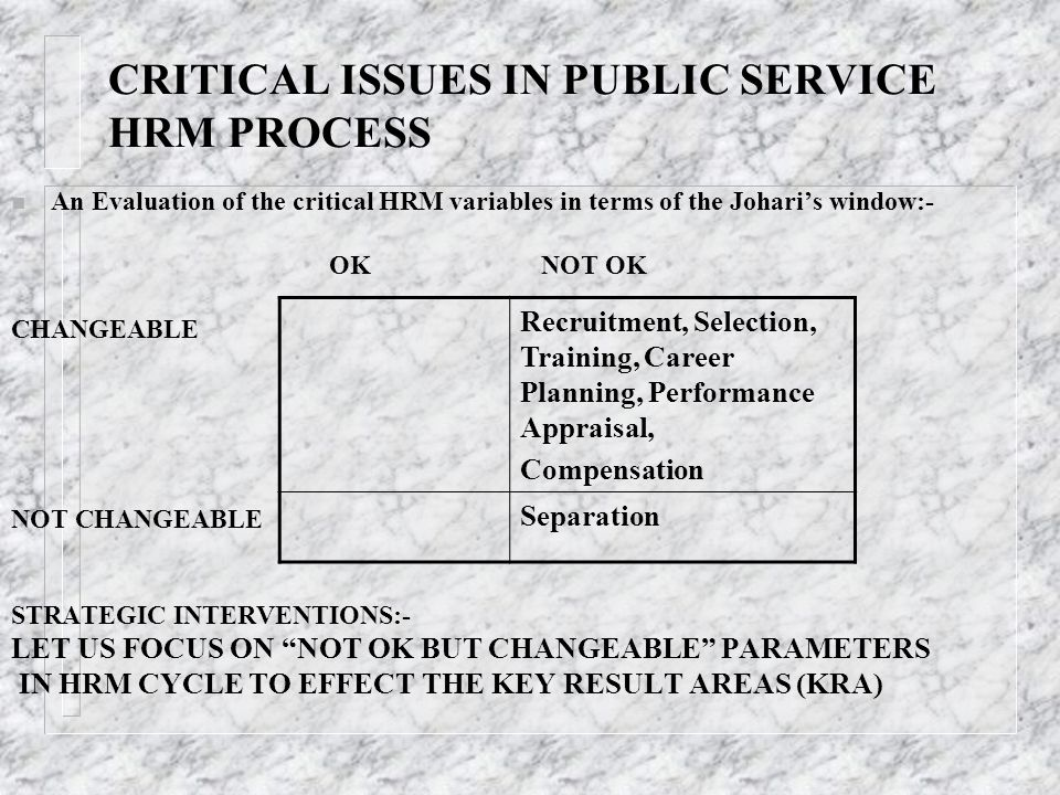 CRITICAL ISSUES IN PUBLIC SERVICE HRM PROCESS