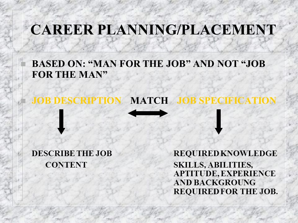CAREER PLANNING/PLACEMENT