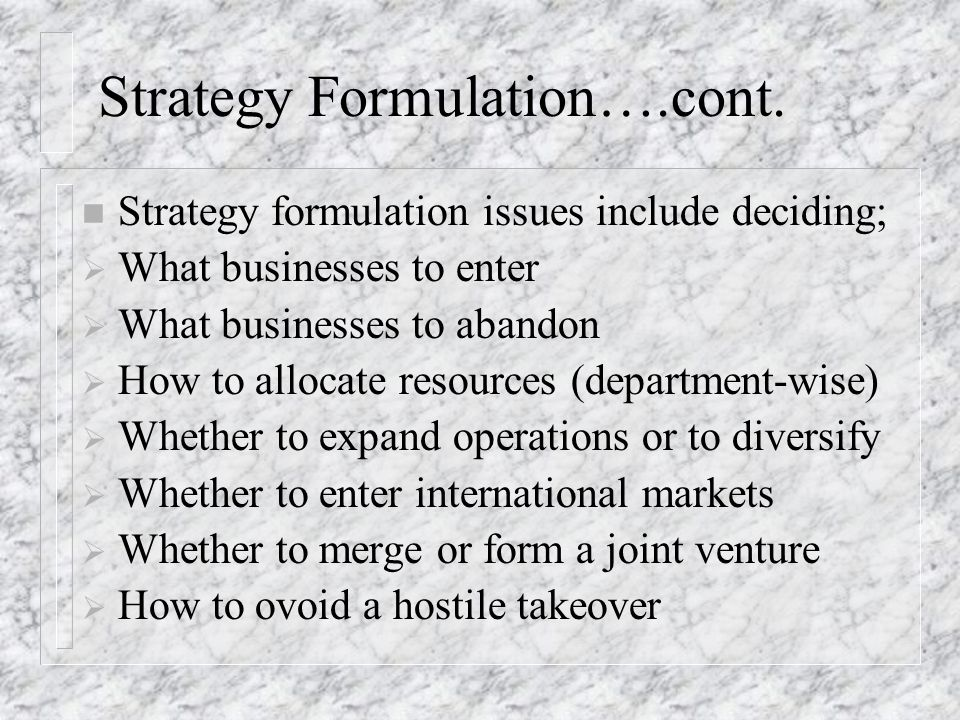 Strategy Formulation….cont.