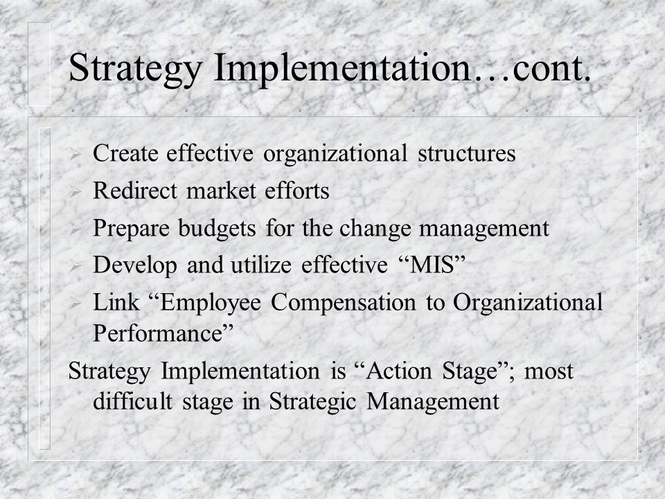 Strategy Implementation…cont.