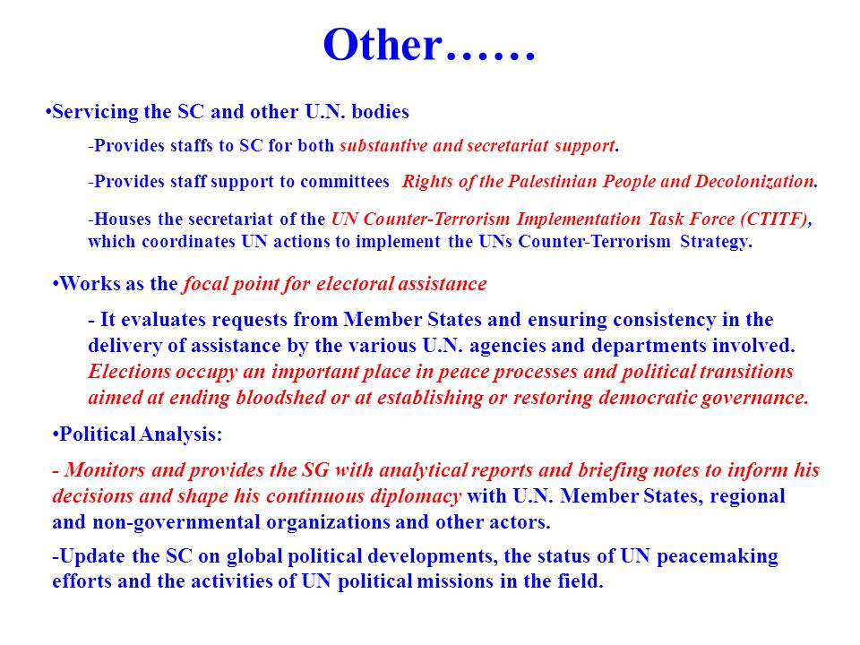 Other…… Servicing the SC and other U.N. bodies