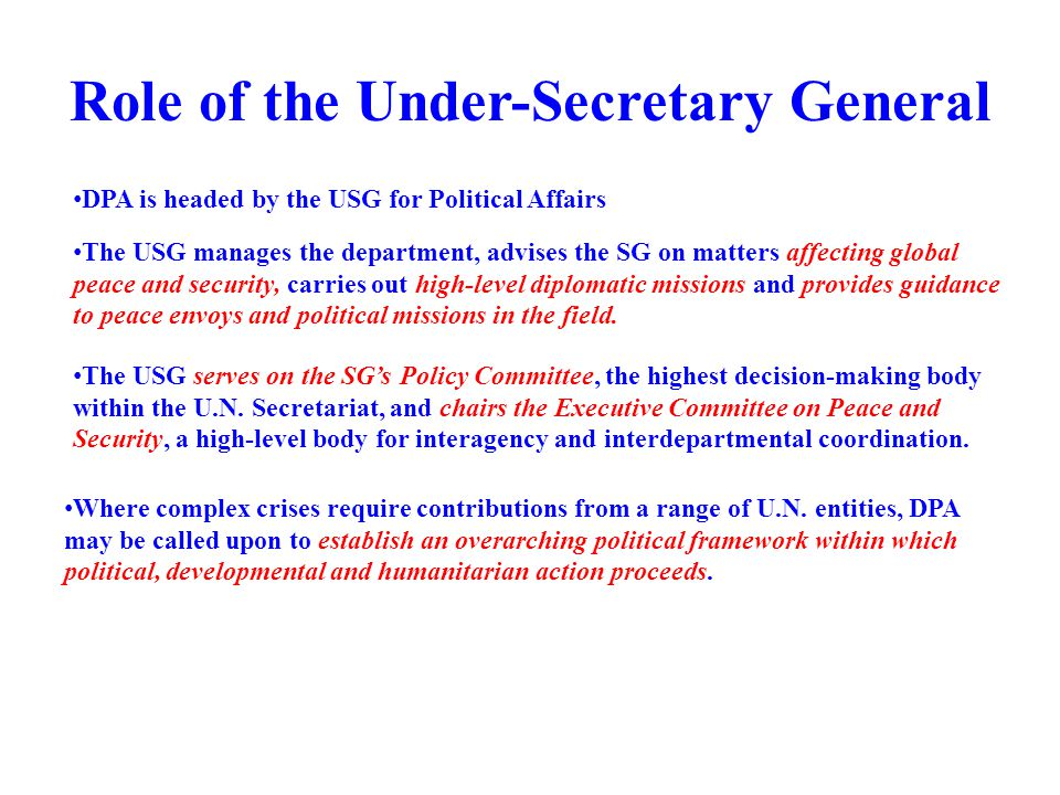Role of the Under-Secretary General