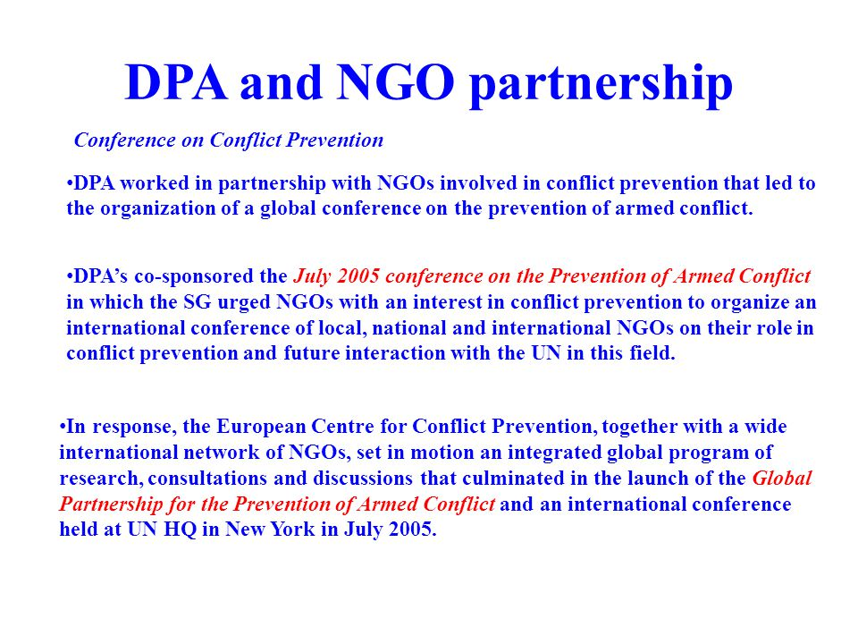 DPA and NGO partnership