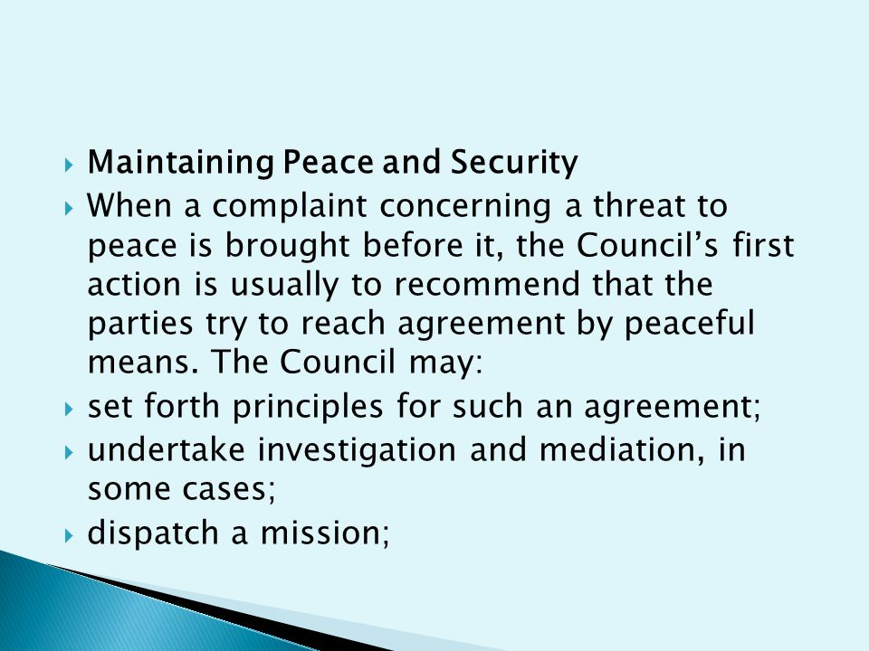 Maintaining Peace and Security