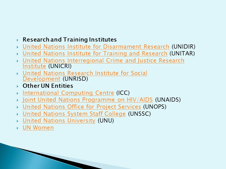 Research and Training Institutes