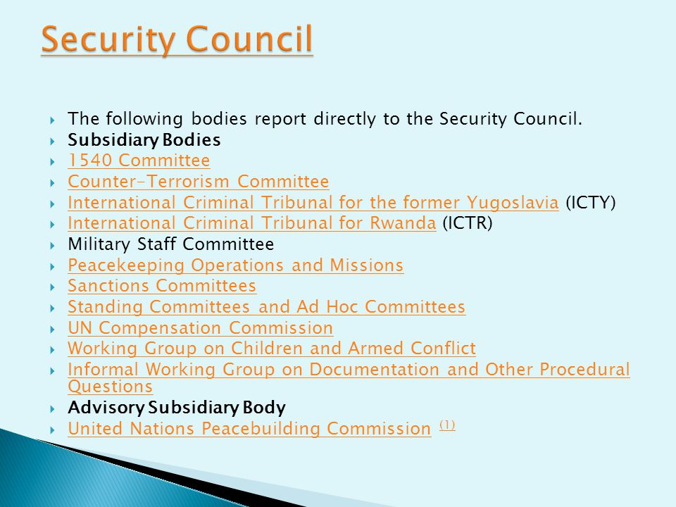 Security Council The following bodies report directly to the Security Council. Subsidiary Bodies. 1540 Committee.