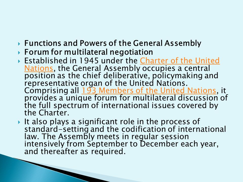 Functions and Powers of the General Assembly