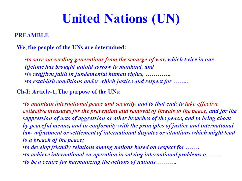 United Nations (UN) PREAMBLE We, the people of the UNs are determined: