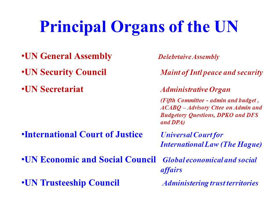Principal Organs of the UN
