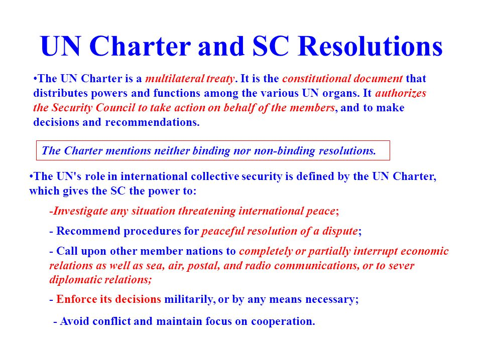 UN Charter and SC Resolutions