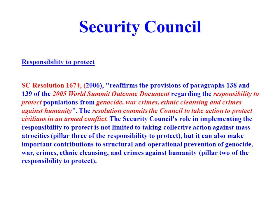Security Council Responsibility to protect
