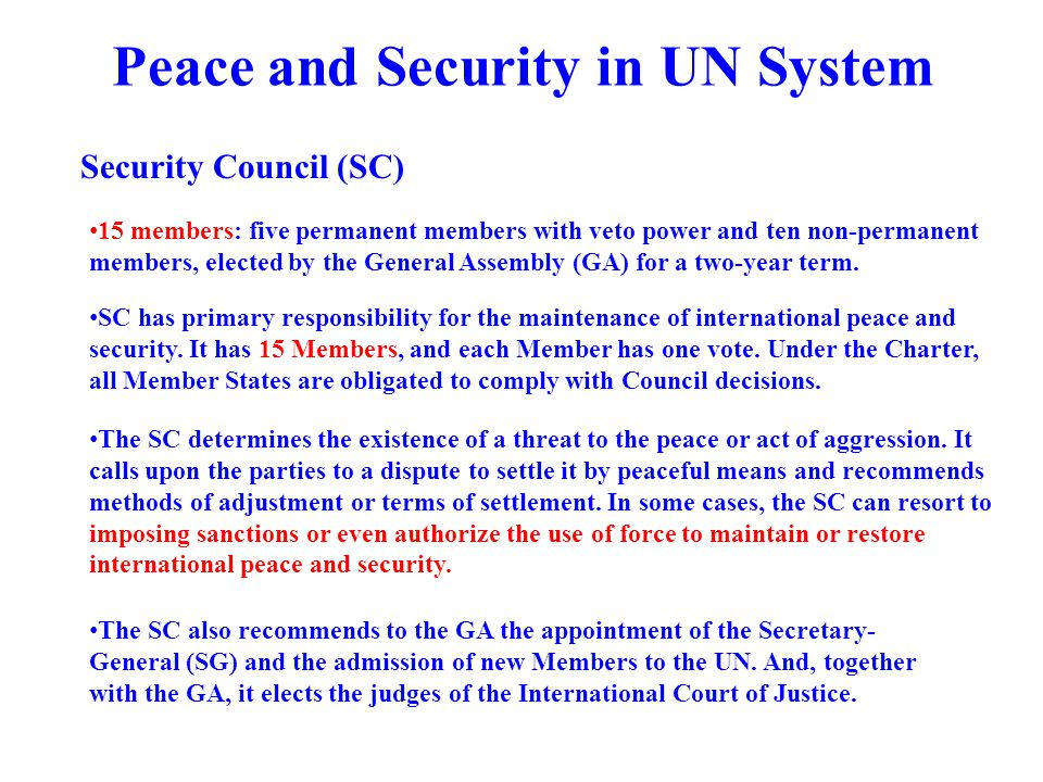 Peace and Security in UN System