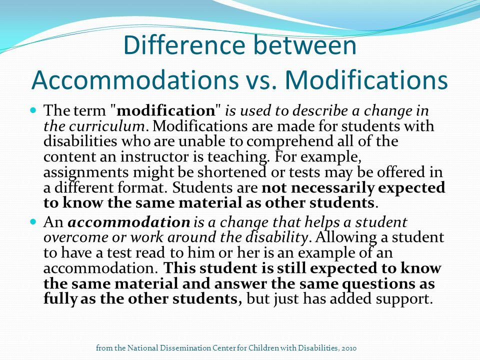Difference between Accommodations vs. Modifications