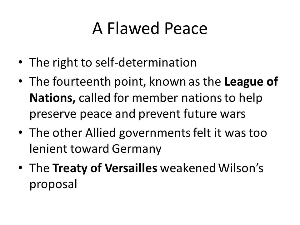 A Flawed Peace The right to self-determination