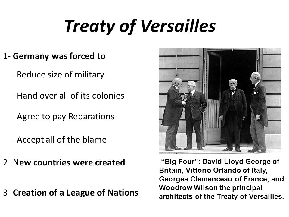 Treaty of Versailles 1- Germany was forced to -Reduce size of military