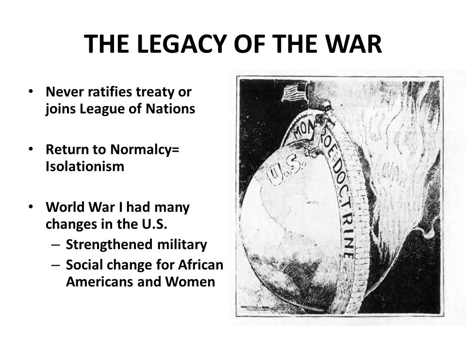 THE LEGACY OF THE WAR Never ratifies treaty or joins League of Nations