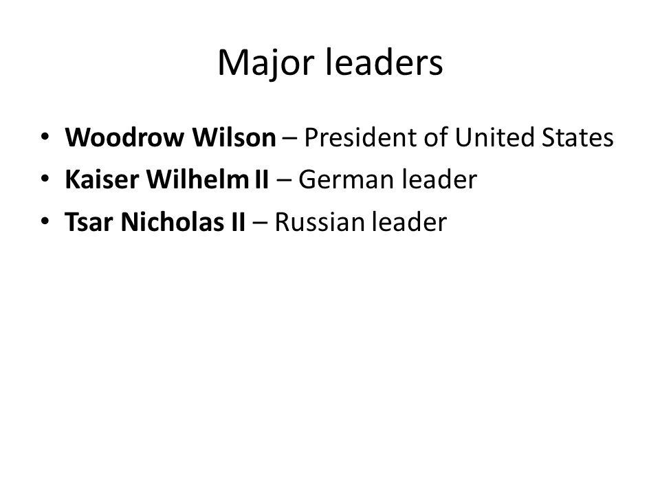 Major leaders Woodrow Wilson – President of United States