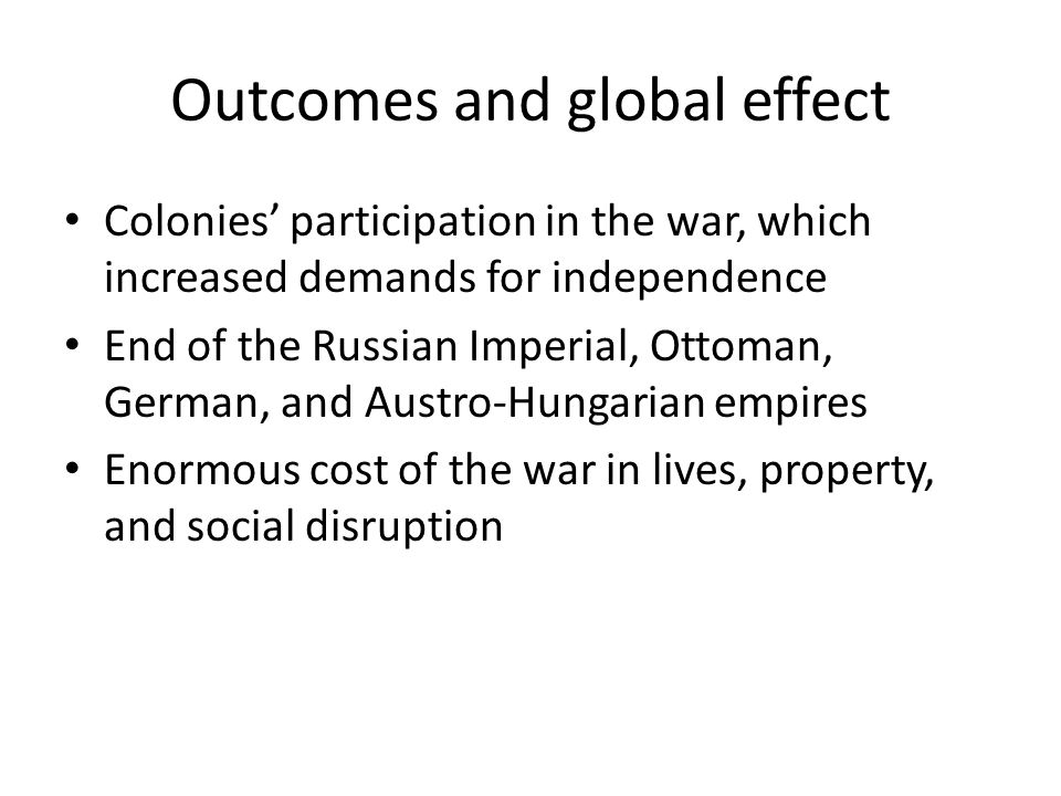 Outcomes and global effect