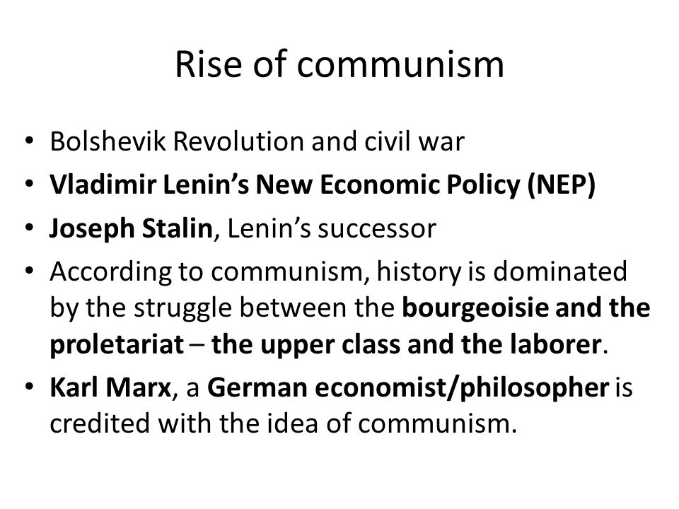 the impact of war communism and new economic policy nep on the proletariat and the peasantry I've got couple essay questions 4 any1:-assess impact of the great patriotic war on communism and the soviet society-evaluate impact of war communism and the new economic policy on both peasantry and proletariat in russian society(1918-1928.