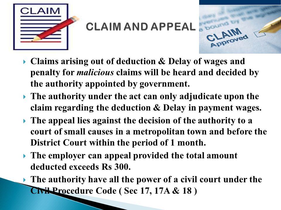CLAIM AND APPEAL