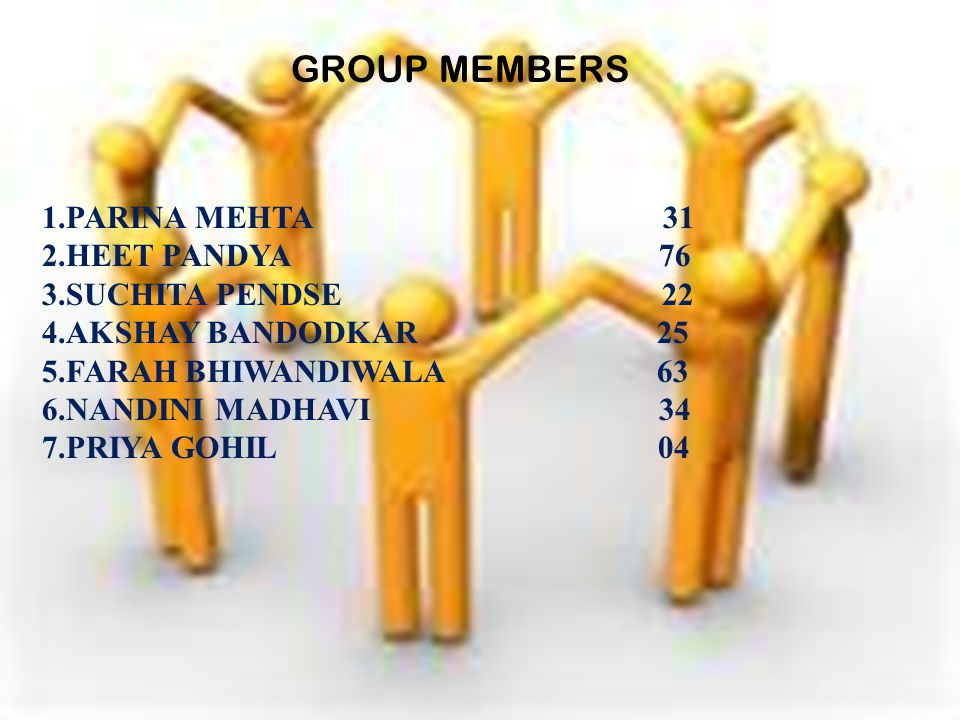 GROUP MEMBERS 1.PARINA MEHTA 31 2.HEET PANDYA 76 3.SUCHITA PENDSE 22