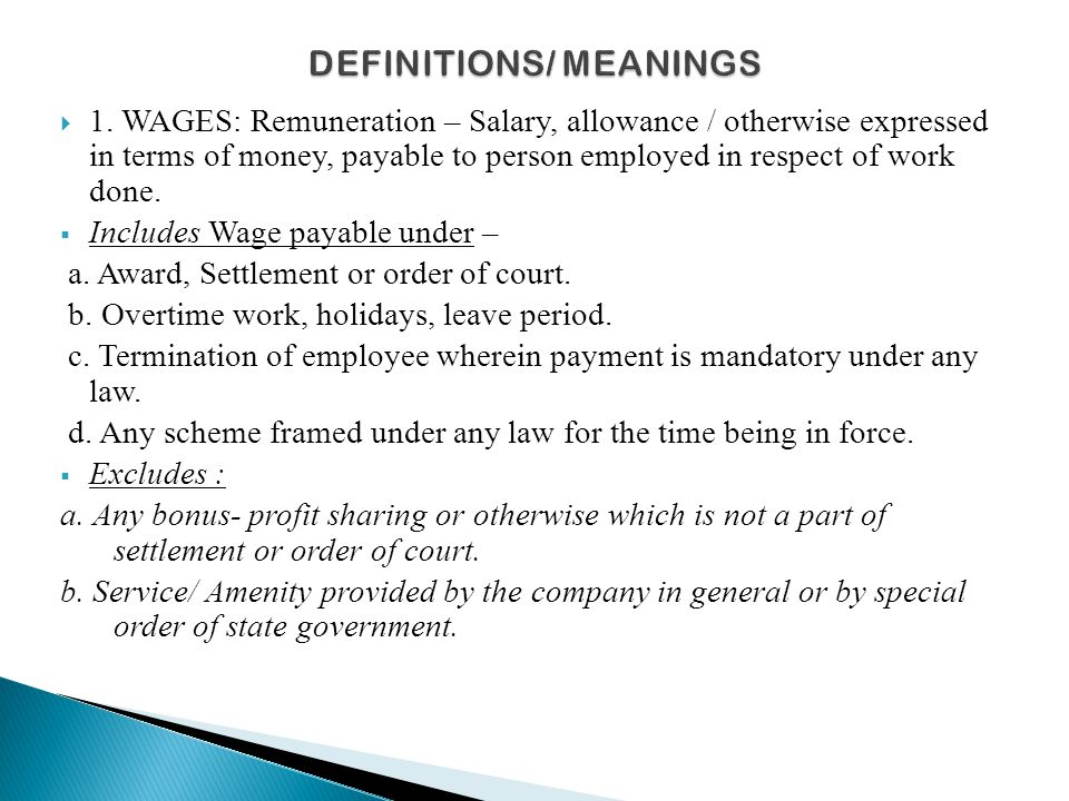 DEFINITIONS/ MEANINGS