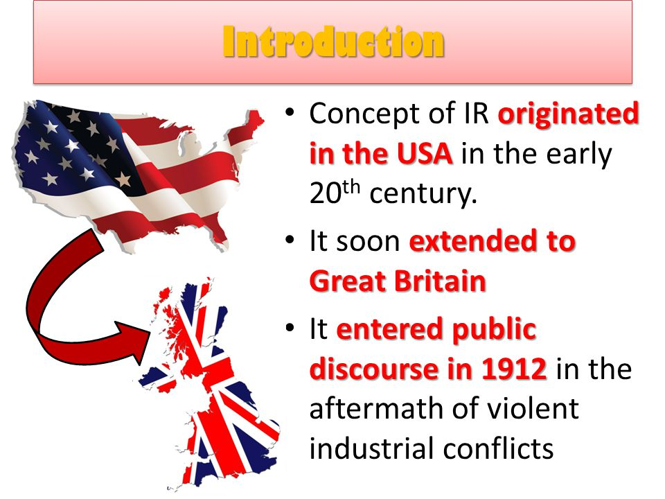 Introduction Concept of IR originated in the USA in the early 20th century. It soon extended to Great Britain.