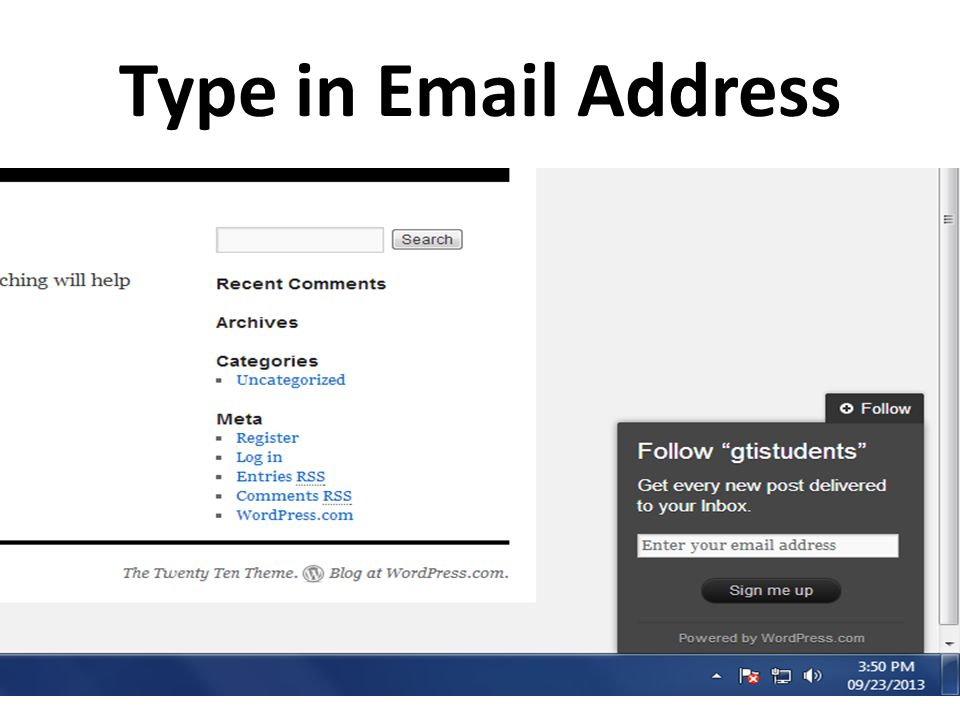 Type in Email Address