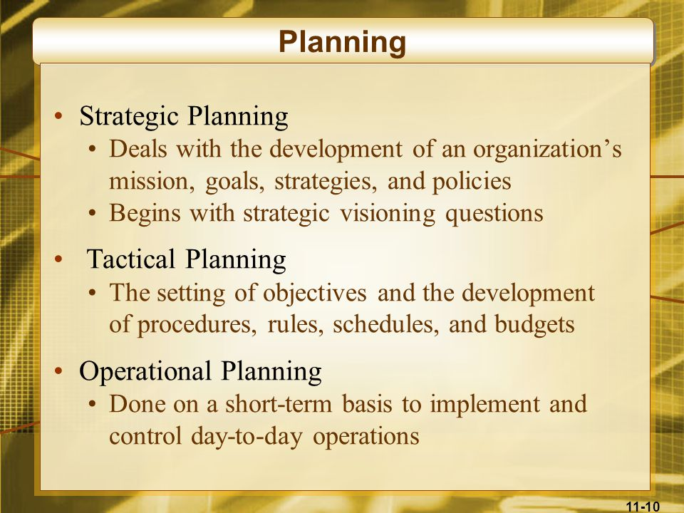 Planning Strategic Planning Tactical Planning Operational Planning