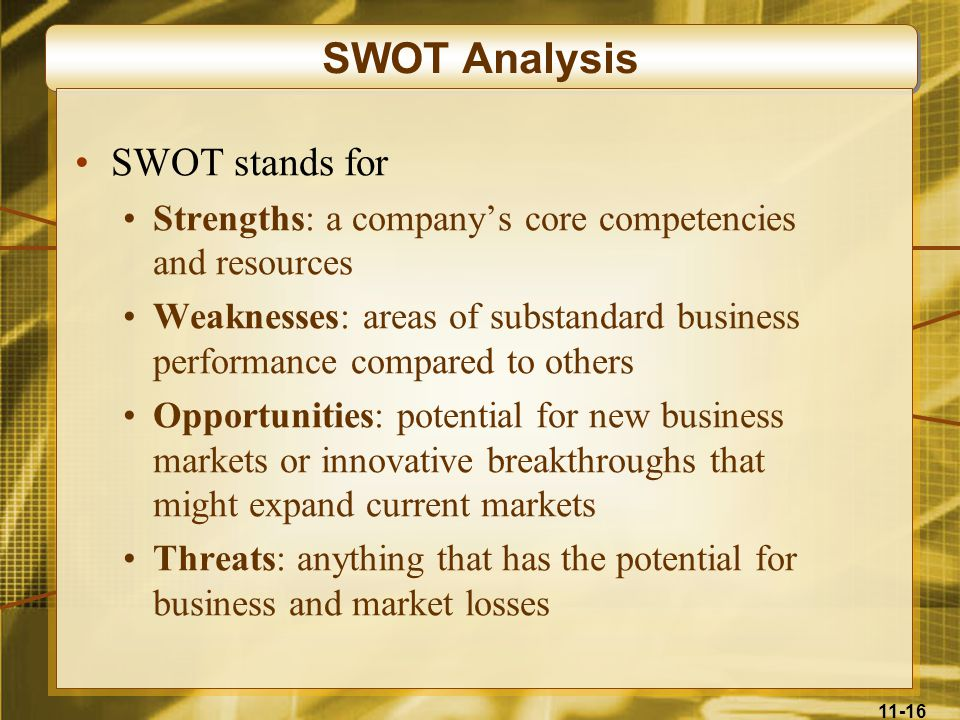 SWOT Analysis SWOT stands for