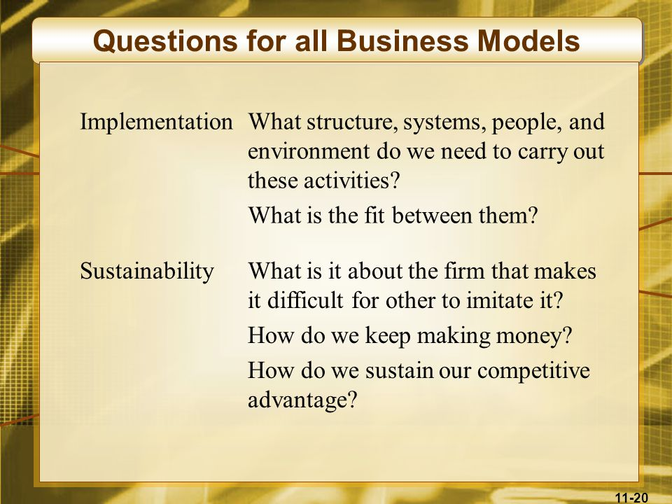 Questions for all Business Models