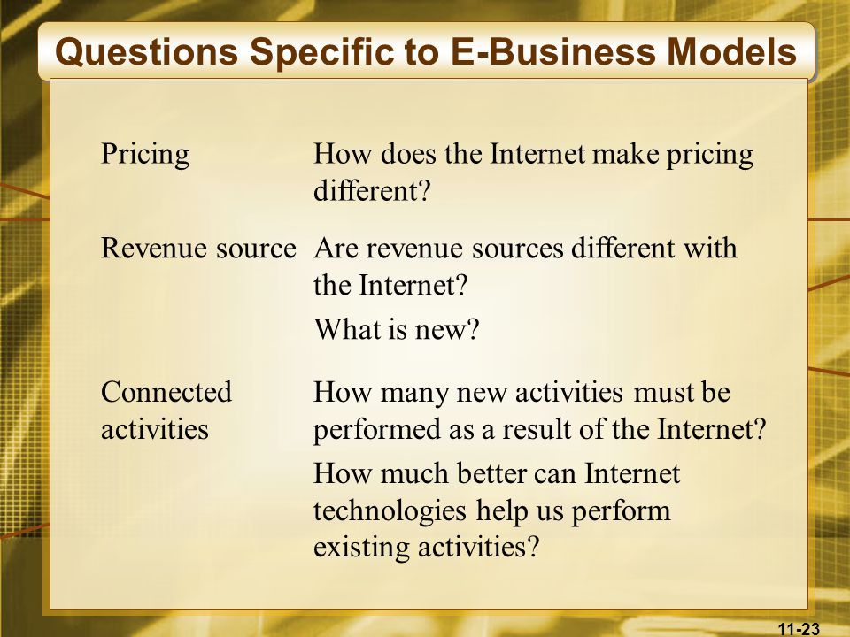 Questions Specific to E-Business Models