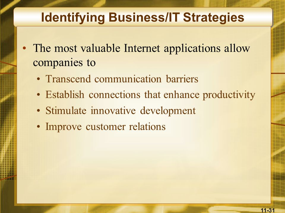Identifying Business/IT Strategies