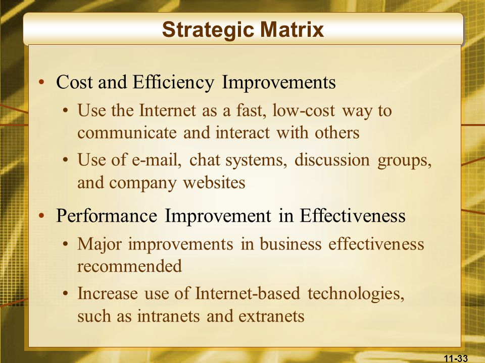 Strategic Matrix Cost and Efficiency Improvements
