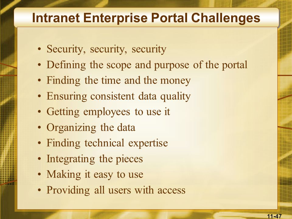 Intranet Enterprise Portal Challenges