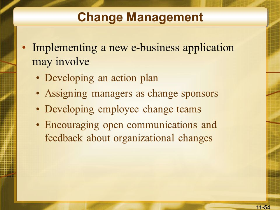 Change Management Implementing a new e-business application may involve. Developing an action plan.