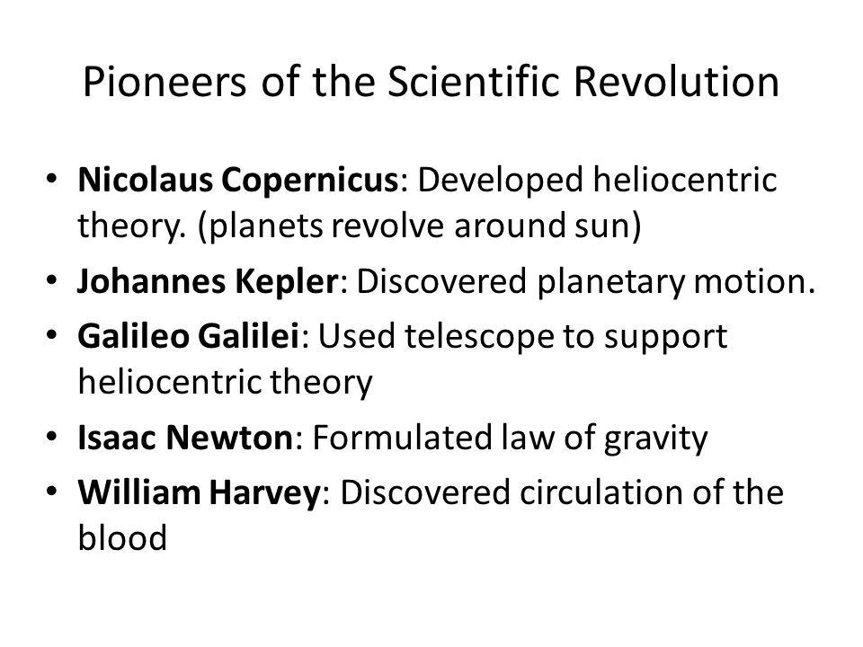 Pioneers of the Scientific Revolution