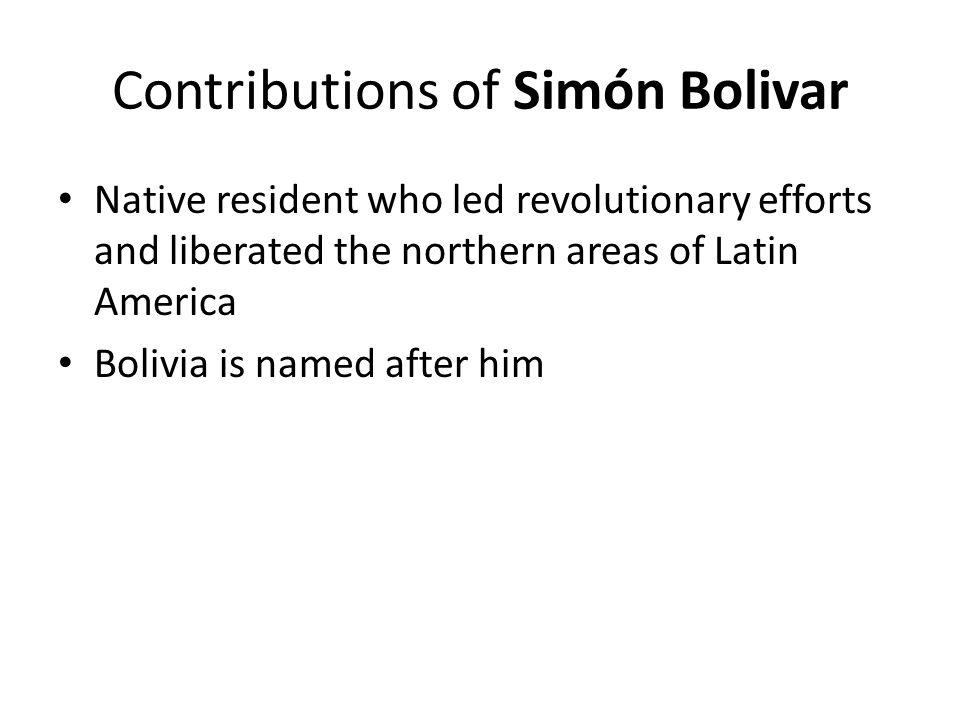 Contributions of Simón Bolivar