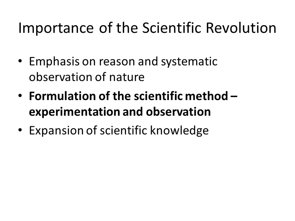 Importance of the Scientific Revolution