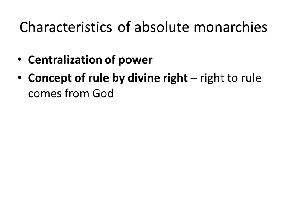 Characteristics of absolute monarchies