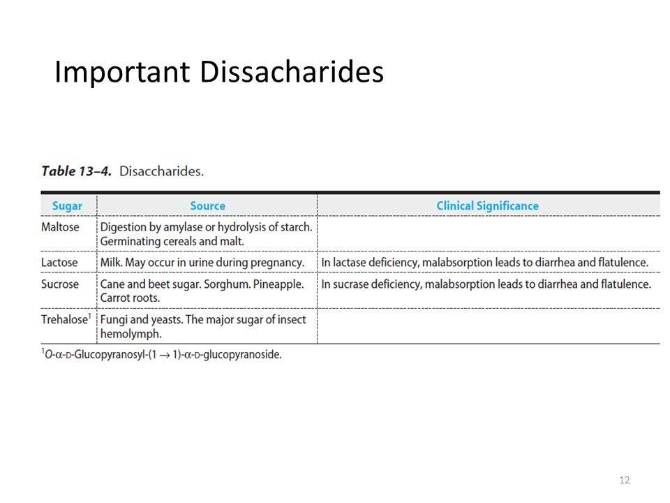 Important Dissacharides