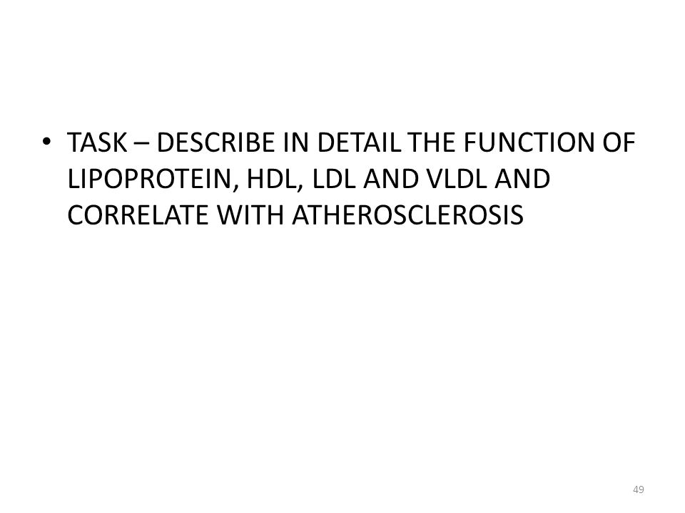 TASK – DESCRIBE IN DETAIL THE FUNCTION OF LIPOPROTEIN, HDL, LDL AND VLDL AND CORRELATE WITH ATHEROSCLEROSIS