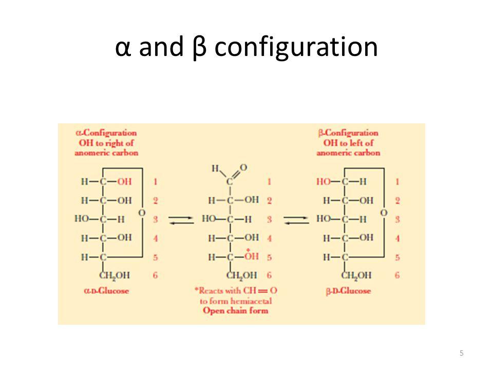 α and β configuration