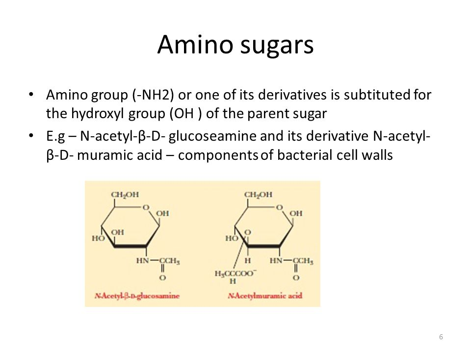 Amino sugars Amino group (-NH2) or one of its derivatives is subtituted for the hydroxyl group (OH ) of the parent sugar.