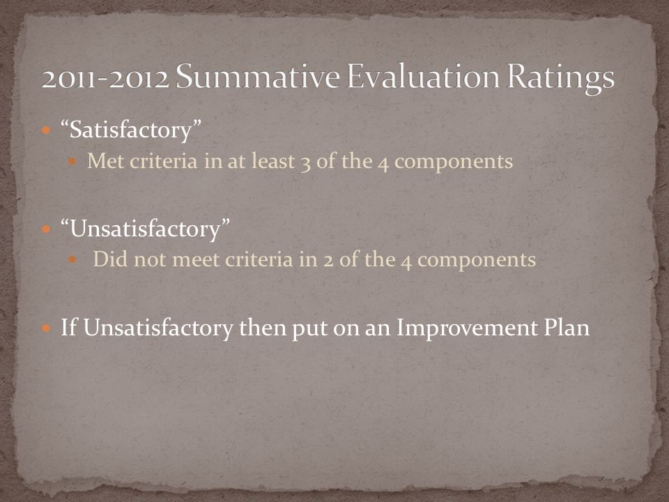 2011-2012 Summative Evaluation Ratings