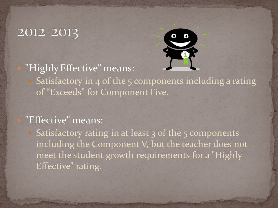 2012-2013 Highly Effective means: Effective means: