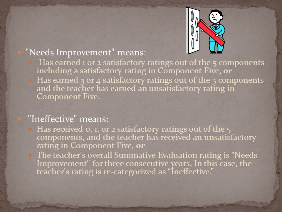 Needs Improvement means: