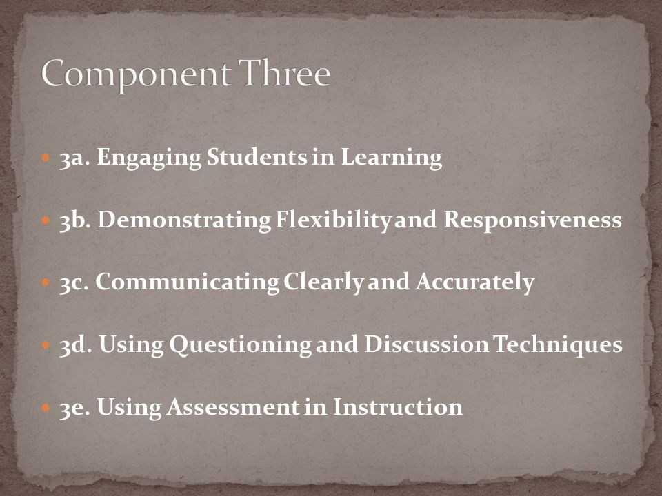 Component Three 3a. Engaging Students in Learning